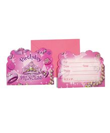 Funcart Birthday Princess Theme Invitation Cards - Pack of 6