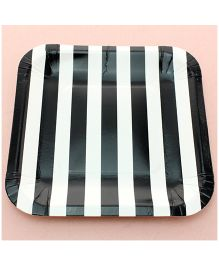 Funcart Black Sailor Striped Square Plates - Pack of 12