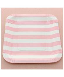 Funcart Pink Sailor Striped Square Plates - Pack of 12