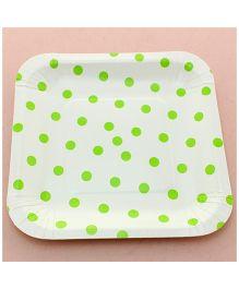 Funcart Green Polka Dot Square Plates - Pack of 12