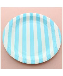 Funcart Blue Sailor Striped Round Plates - Pack of 12