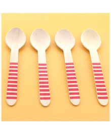 Funcart Wooden Cutlery Utensil Striped Pink Spoon - Pack of 10