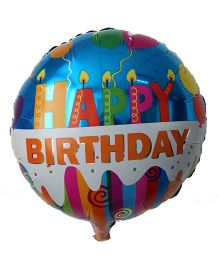 Funcart Round Happy Birthday Candles Foil Balloon - Blue