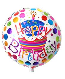 Funcart Round Happy Birthday Polka Dots Foil Balloon - White