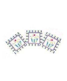 Funcart Sweet Treat Cupcake Blue Theme Napkins - Pack of 9