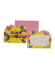 Funcart Colorful Balloons Theme Invitation Cards - Pack of 6
