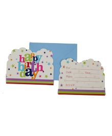 Funcart Star Birthday Theme Invitation Cards - Pack of 6