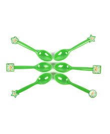 Funcart Frolic Birthday Theme Spoon Green - Pack of 6