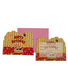 Funcart Stripe birthday Theme Invitation Cards - Pack of 6