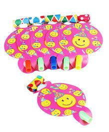 Funcart Smiley Theme Party Blowouts - Pink And Yellow