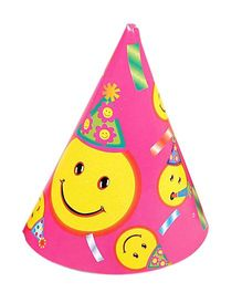 Funcart Smiley Theme Party Cone Caps - Pink
