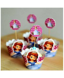 Funcart Sofia Princess Cupcake Wraps With Picks