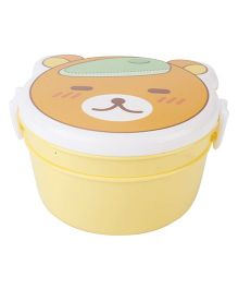 Lunch Box with Spoon Bear Face Print - Yellow