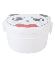 Lunch Box with Spoon Panda Face Print - White