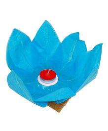 Funcart Lotus Floating Water Lantern With Tea Wax - Light Blue