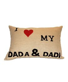 The Sprouts I Love My Dada & Dadi Printed Cushion Cover - Beige