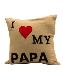 The Sprouts I Love My Papa Printed Cushion Cover - Beige