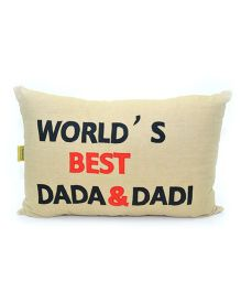 The Sprouts World's Best Dada & Dadi Printed Cushion Cover - Beige