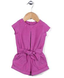 ToffyHouse Cap Sleeves Solid Color Jumpsuit With Belt - Dark Pink