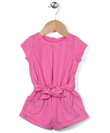 ToffyHouse Cap Sleeves Solid Color Jumpsuit With Belt - Pink