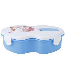 Printed Lunch Box with Spoon - Blue and White