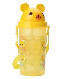 Sipper Water Bottle Teddy Print - Yellow