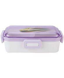 Lunch Box with Transperent Lid Train Print - Purple