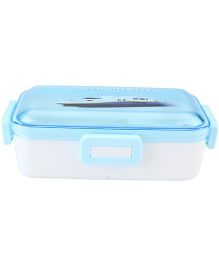 Lunch Box with Transperent Lid Train Print - Blue