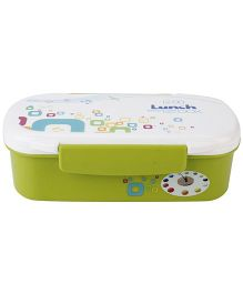 Lunch Box With Spoon Squares Print - Green