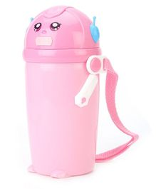 Water Bottle With Straw And Push Button Pink - 500 ml