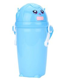 Water Bottle With Straw And Push Button - Blue