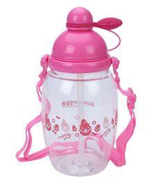 Sipper Water Bottle Happy Print Pink - 550 ml