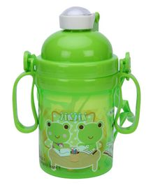 Water Bottle With Handles Frog Print - Green