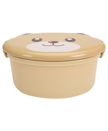 Lunch Box with Spoon Teddy Face Print - Brown