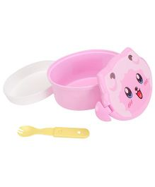 Lunch Box with Spoon Cat Face Print - Pink