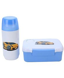 Lunch Box With Spoon and Water Bottle Set Car Print - Blue and White