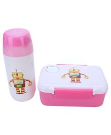 Lunch Box With Spoon and Water Bottle Set Robot Print - Pink and White
