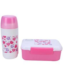 Lunch Box With Spoon and Water Bottle Set Hearts Print - Pink and White