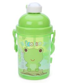 Sipper Bottle With Push Button Lid Froggy Print - Green