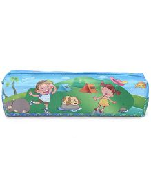 Zippered Pencil Pouch With Boys Print - Green And Blue