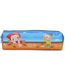 Zippered Pencil Pouch With Boys Print - Blue And Orange