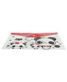 Envelope Folder Pouch Panda Print  - Red Black