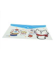 Envelope Folder Pouch Bear & Kitty Print - Blue And Off White