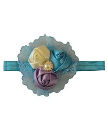 Tiny Closet Three Flowers Headband With Pearl - Blue