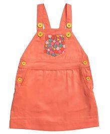 Campana Dungaree Skirt Floral Print - Peach