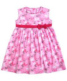 Campana Sleeveless Frock Butterfly Print - Pink