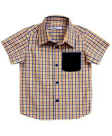 Campana Half Sleeves Checked Shirt - Blue and Yellow