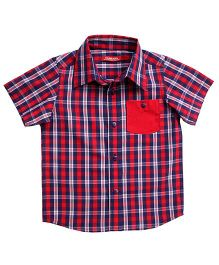 Campana Half Sleeves Checked Shirt - Blue and Red