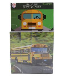 Ratnas Educational Cube Puzzle - School Bus