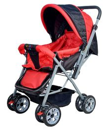 Happy Kids Stroller with Reversible Handle - Red